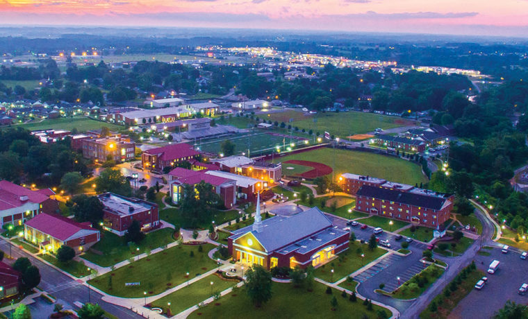 campbellsville campus aerial shot at night